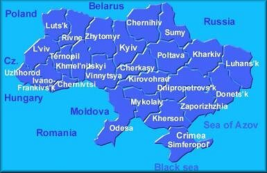 The map of Ukraine